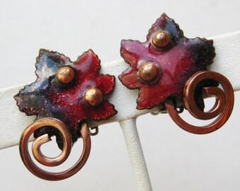 Vintage 50s Renoir Matisse Copper Enamel Maple Leaf Leaves Clip Earrings