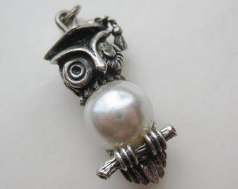 Vintage Charm Sterling Silver Beau Wise Old Owl Pearl Graduation Bracelet Charm