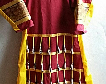 Jingle Dress With Belt Girls/Pre-Teens Regalia - Dance - Cloth - Cones - Maroon - Yellow Deer