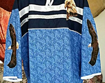 Ribbon Shirt-Eagle-Men's- Womens-Teens-Blue-Regalia-NDN-X Large