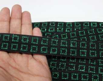 14 yards Velvet trim with green and blue accent