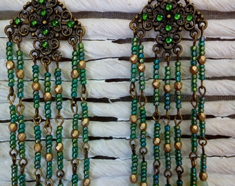 Oriental green earrings