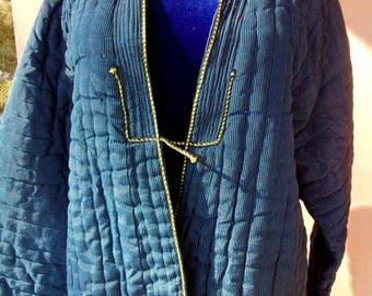 Uzbek vintage bekhasam blue silk chapan. Tribal, ethnic kaftan