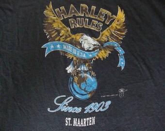 Vintage 80's Harley Davidson Motorcycle St. Maarten 1987 Holoubek biker trucker eagle T Shirt Adult size XL