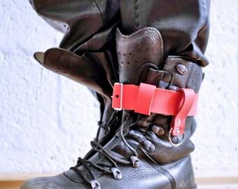 Unisex Leather Boot Garter  - ruddy orange - steampunk - burning man - apocalypse - mad max, Please read Description for size