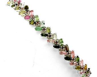 "GENUINE Garnet and Tourmaline gemstones, 14kt white gold Bracelet 7 1/2"""