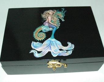 Mermaid Riding Seahorse Jewellery Box Wood Hand Painted Original Art OOAK Keepsake Miniature Mermaid Painting Storage Decor Lacquer Box