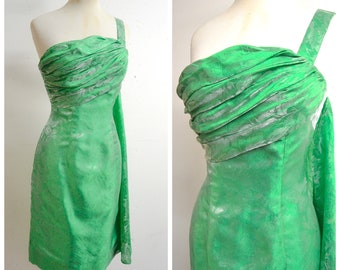 1950s 60s Green ruched bust swag back cocktail dress / 1960s 50s One shoulder pencil party dress - XS S
