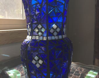 Cobalt Blue and White Stained Glass Mosaic Vase