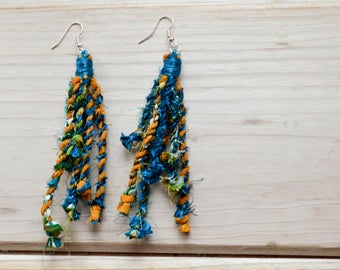 Repurposed Fabric Turquoise and Gold Statement Earrings