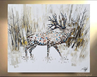 Elk in Forest Landscape Stag Painting on Canvas Deer Male Original Artwork Home Decor Gift for House Trending Animal art By OTO