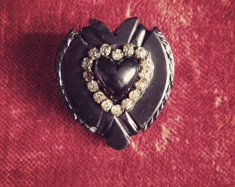 Heart-Shaped, Antique Mourning Brooch