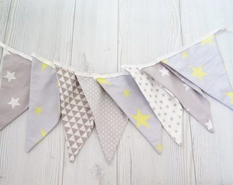 Gray and yellow banner , fabric banner , gray banner , fabric garland