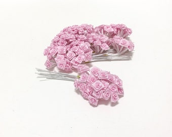 144 Tiny Pink Ribbon Roses - Artificial Flowers, wedding, Flower Crown, Millinery, Hair Accessories, Scrapbooking