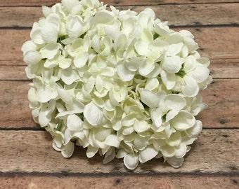 Jumbo CREAM WHITE Hydrangea Head - Small Petals - Artificial Flowers, Silk Flowers, Flower Crown, Millinery, Scrapbooking