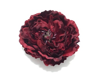 Jumbo Artificial Burgundy Red Peony - 7 Inches - Artificial Flower, Silk Flower, Wedding Flowers, Hair Accessories, Millinery, Flower Crown