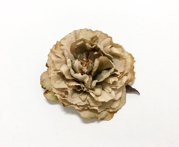 Silk Flowers - One Fabulous Jumbo Peony in Taupe with Brown Accents - Artificial Flower