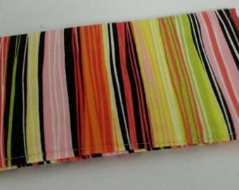 Checkbooks Cover Adorable Striped Fabric Print Coupon Holder Clutch Purse Billfold Ready-Made