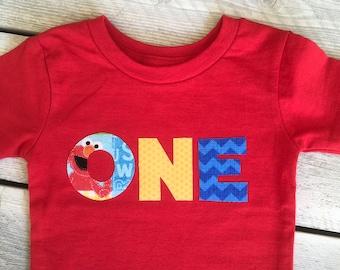 Boy 1st/First Birthday Sesame Street Inspired ONE Iron On Applique