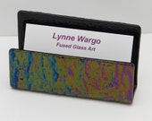Business Card Holder,  Black Iridescent Textured Glass. Elegant Desk Accessory, #53