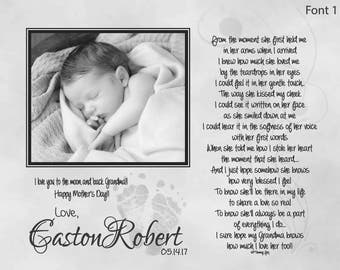 New Grandma Mother's Day Gift from Baby with Footprints-Personalized Poetry Print-From the Moment She First Held Me-Custom Photo Print