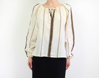 VINTAGE 1970s Blouse Embroidered Boho Top