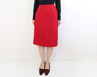 VINTAGE 1960s Red Pencil Skirt Fuzzy Boucle Knit