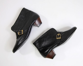 VINTAGE Black Ankle Boots Leather Low Heels Size 6