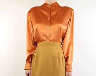 VINTAGE Orange Blouse Silk Longsleeve 1980s Top