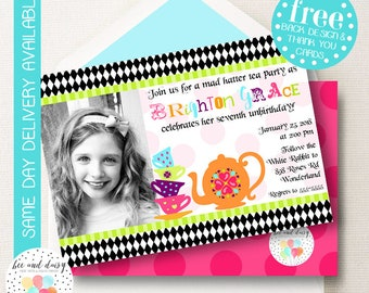 Alice in Wonderland Birthday Invitation, Wonderland Party Invitation, Wonderland Tea Party, Wonderland Birthday Party Invite, Mad Hatter Tea