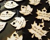 Wood Leaf Wedding Favors Personalized Set of 150 Leaves
