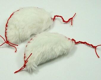 Furless Cat Toys, Faux Fur Catnip Mice, Fake Fur Catnip Mice, Vegan Catnip Mice, Christmas White Mice, White Mice Toys, Fur Mice (2 pack)