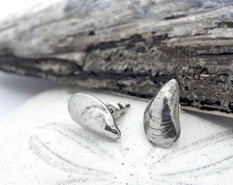 Mussel Shell Stud Earrings Sterling Silver