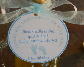 "50 Baby Shower Custom 2"" Baby Feet Favor Tags - For Mini Wine and Champagne Bottles - Shower Favors - Thank You for Showering with Poem"