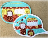 pot holders, potholders, camper, camping, vintage camper, quilted, happy, cooking, kitchen, blue, green, brown, baking