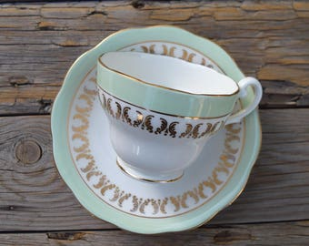 Royal Standard tea cup and saucer vintage English bone china white mint gold drinkware Mothers Day Birthday housewarming party gift for her
