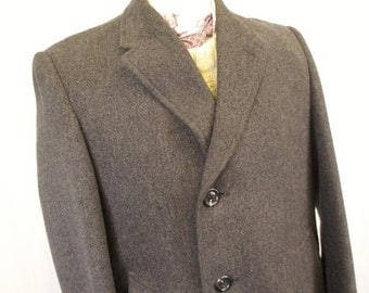 L 42R - Vintage 1960's Gents Guards Grey Herringbone Tweed Wool Overcoat