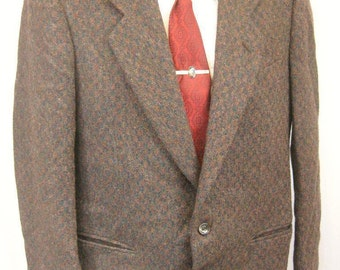 Vintage 80's Giorgio Armani Mens Brown Green Tweed Wool Jacket 38R Small Blazer