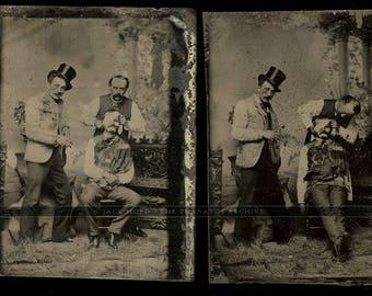 set of unusual tintypes - men bandaging face of their friend