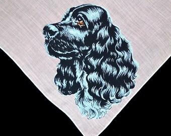 VINTAGE DOG HANKIE, Black Cocker Spaniel on Pink Silver Black Fur Amber Eyes Linen White Hand Rolled Hem Excellent Condition Canine Dog Pet