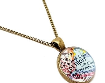 Detroit Map Necklace. Detroit Necklace. Made With A 1961 Vintage Map. Ready To Ship. Michigan Map Resin Pendant Necklace. Hometown City Gift