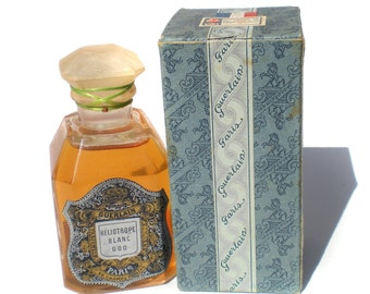 Guerlain Heliotrope Blanc Perfume 000 70ml c1920s Rare Glass Bottle Women's Perfume Floral Triple Strength Scent