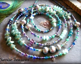 Raw Sea Green Apatite Necklace, Grey Peacock Freshwater Pearl Necklace, Long Rustic Rough Stone Necklace, Artisan Jewelry