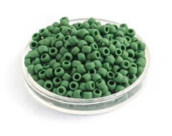 10g  TOHO Seed Beads, Opaque Frosted Pine Green, Round Matte Japanese Glass Beads, Size 8 (TR-08-47HF)