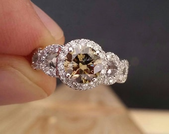Infinity Champagne Diamond Engagement Ring in 18k White Gold