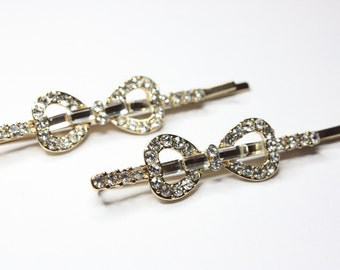 Crystal Bow Hairpins, Gold Tone Hairpins, Crystal Fashion Hairpins, Bridal Accessories, Weddings, Bride, Ready to Ship, FREE USA SHIPPING