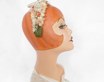 Vintage headband hat, flowered 1950s 1960s