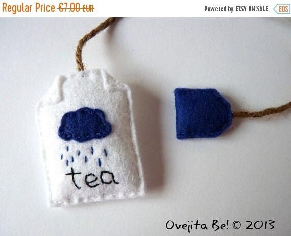 Tea bag felt bookmark - Rainy Day