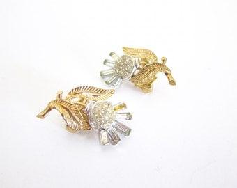 Crown Trifari Earrings Rhinestone Earrings Clip On Rhinestone Baguettes Destash B93