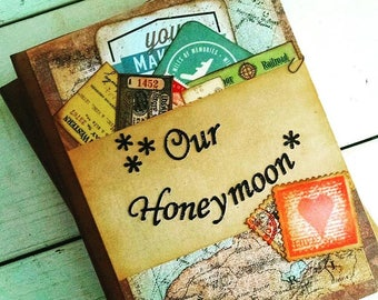 Honeymoon Travel Journal Smashbook Art Journal Keepsake Unlined Pages Vacation Road Trip Adventure Newlyweds Bridal Shower